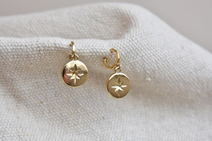 Star Coin Huggie Earrings
