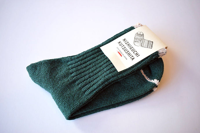 Japanese green silk cotton socks