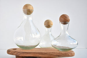 Large Roly Poly Decanter with wood topper