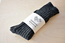 Japanese Wool Ribbed Socks in Charcoal