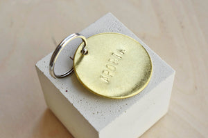 "Large Custom ""APORTA"" Brass Key Chain"