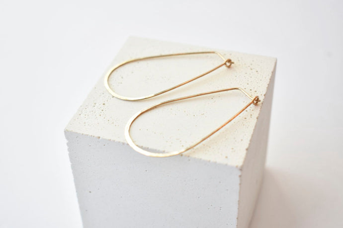Hammered Teardrop Hoops in 14k Gold-Fill - Large