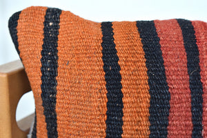 Stripey stripe lumbar killim pillow #1