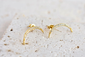 Crescent moon jewel earrings