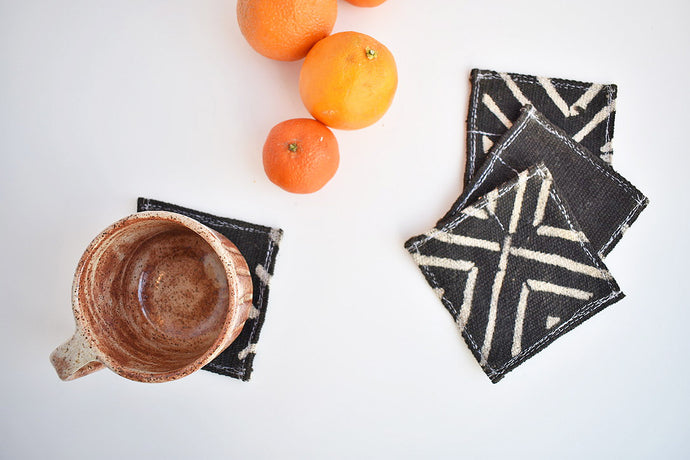 Black/Beige Mud Cloth Coaster Set of 4