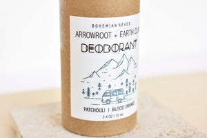 Arrowroot and Earth Clay Deodorant in Patchouli/ Blood Orange