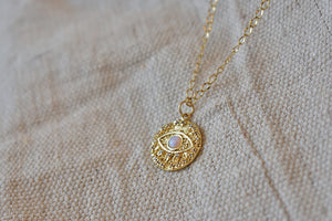 Opal Eye Coin Charm Necklace