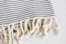 Organic Turkish Towel in Grey Striped Weave