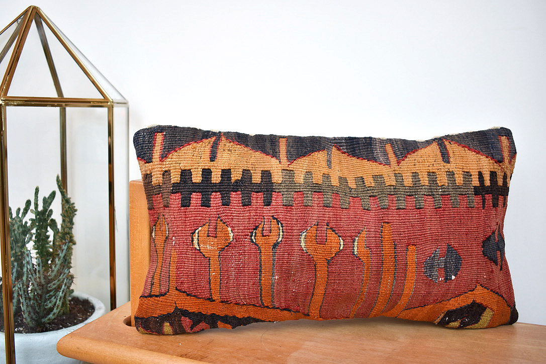 Orange sneaky snake kilim pillow