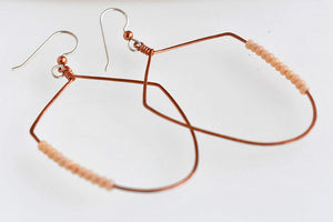 Copper and pink beaded dangle earring