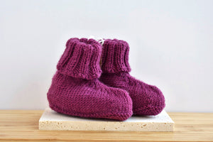 Hand knit baby booties
