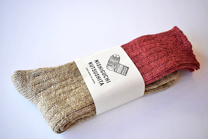 Japanese red wool cotton slab socks