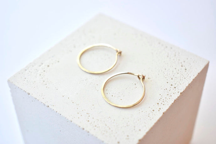 Hammered 14k Gold Hoops - Small