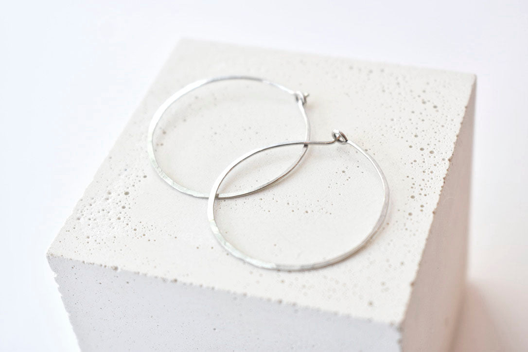 Hammered Sterling Silver Hoops - Medium