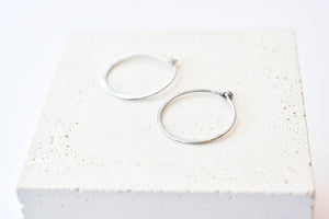 Hammered Sterling Silver Hoops - Small