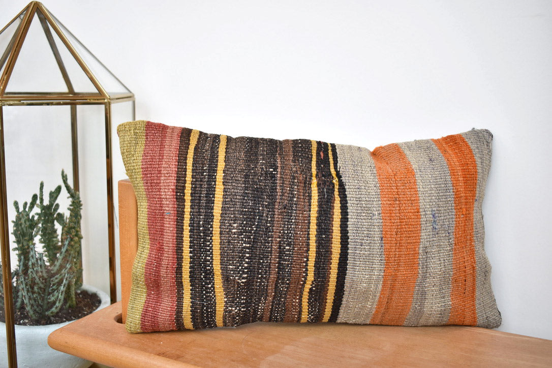 Stripey stripe lumbar killim pillow #3