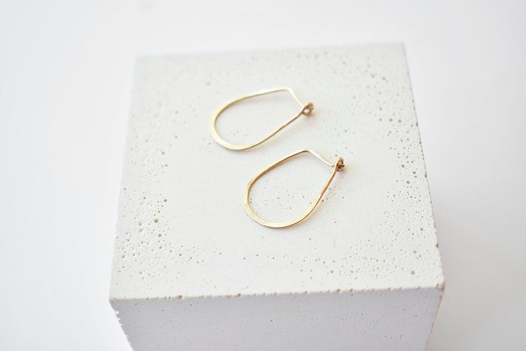 Hammered Teardrop Hoops in 14k Gold-Fill - Small
