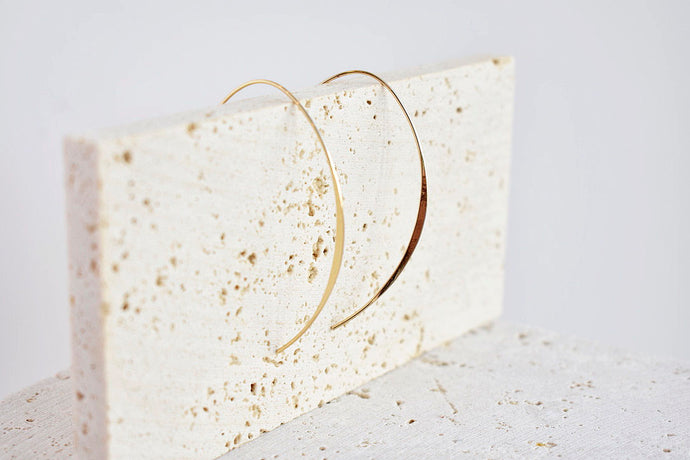 Gold hoop threader earring