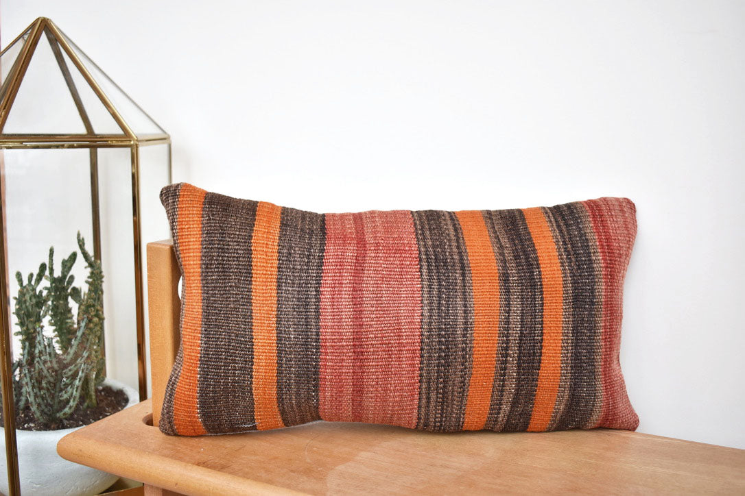 Stripey stripe lumbar killim pillow #4