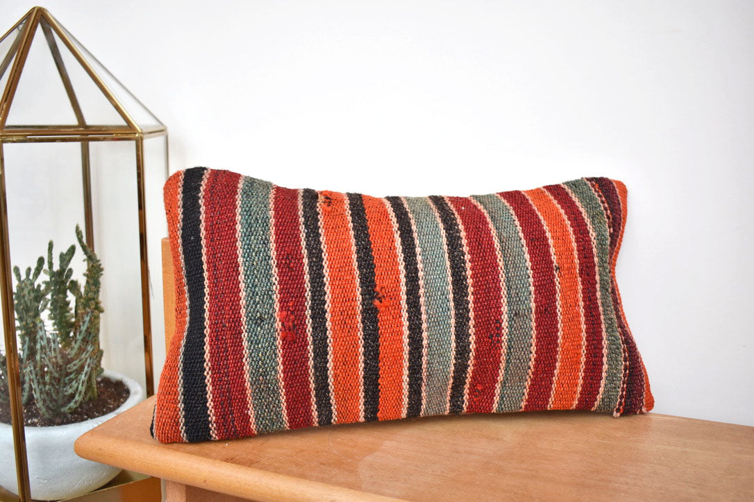 Stripey stripe lumbar killim pillow #9