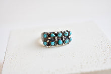 Vintage Sterling and Turquoise Petit Point Ring