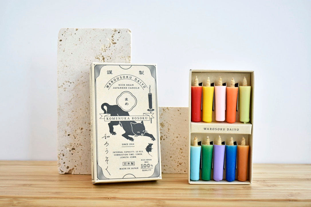 Japanese rice wax candle set in vivid colors