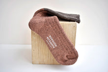 Japanese brown wool cotton slab socks