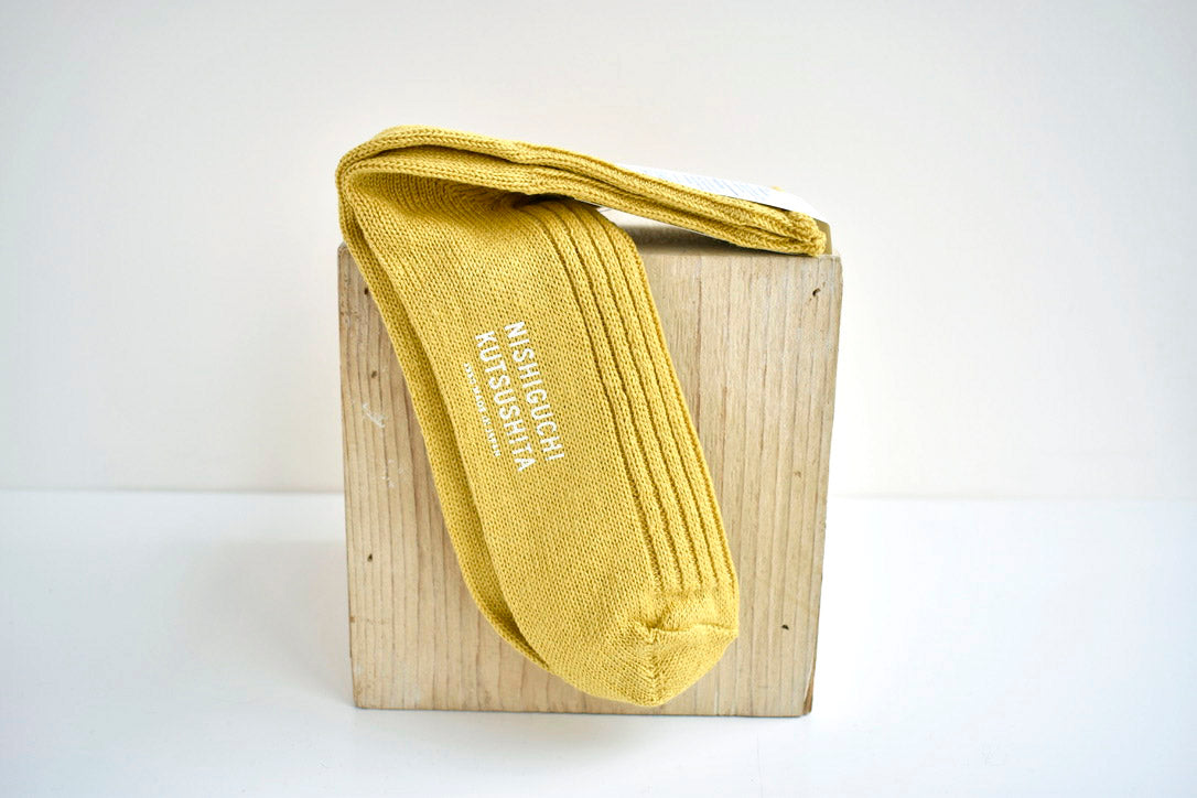 Japanese Linen Ribbed Socks in Yellow