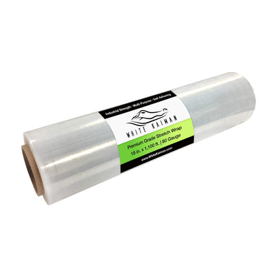"White Kaiman 18"" Industrial Strength Plastic Wrap Stretch Film"