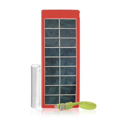 White Kaiman Rugged Waterproof Mobile USB Charging Solar Panel (Red) combo pack