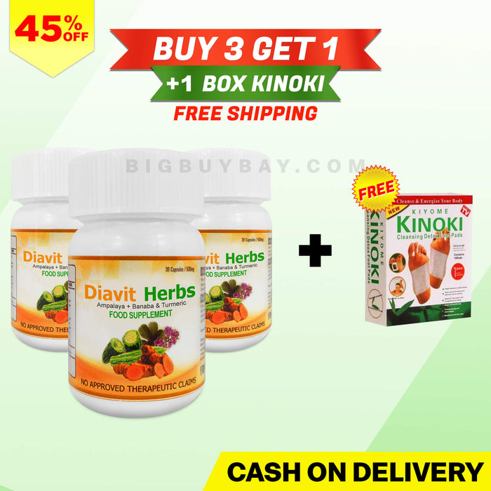 Promo C - 3 Bottles of Diavit Herbs + 1 Box Kinoki + Free Shipping