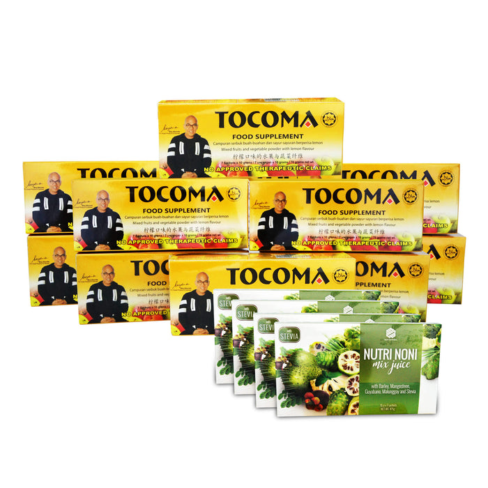 TOCOMA Promo: Buy 10 Boxes of Tocoma You Get FREE 4 Boxes of Shape Up Coffee, or Gofit Coffee, or Nutri Noni Juice Plus FREE Shipping