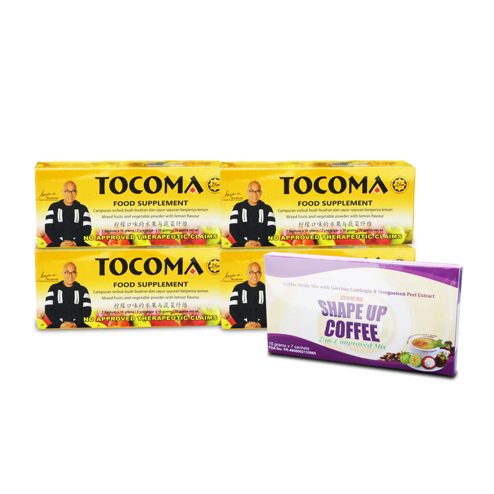 TOCOMA Promo: Buy 4 Boxes of Tocoma You Get FREE 1 Box of Shape Up Coffee, or Nutri Noni Juice Plus FREE Shipping