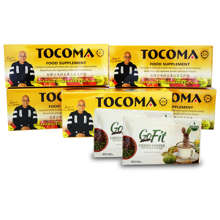 TOCOMA Promo: Buy 5 Boxes of Tocoma You Get FREE 2 Boxes of Shape Up Coffee, or Gofit Coffee, or Nutri Noni Juice