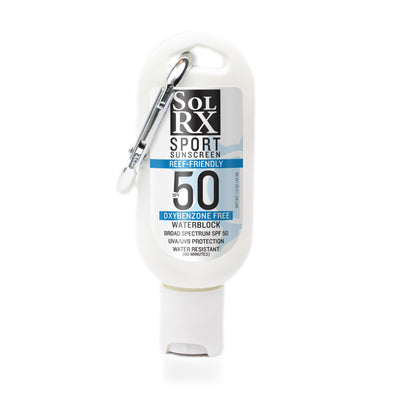 SolRX sport sunscreen broad spectrum uva/uvb protection reef friendly anti-aging spf 50 carabiner