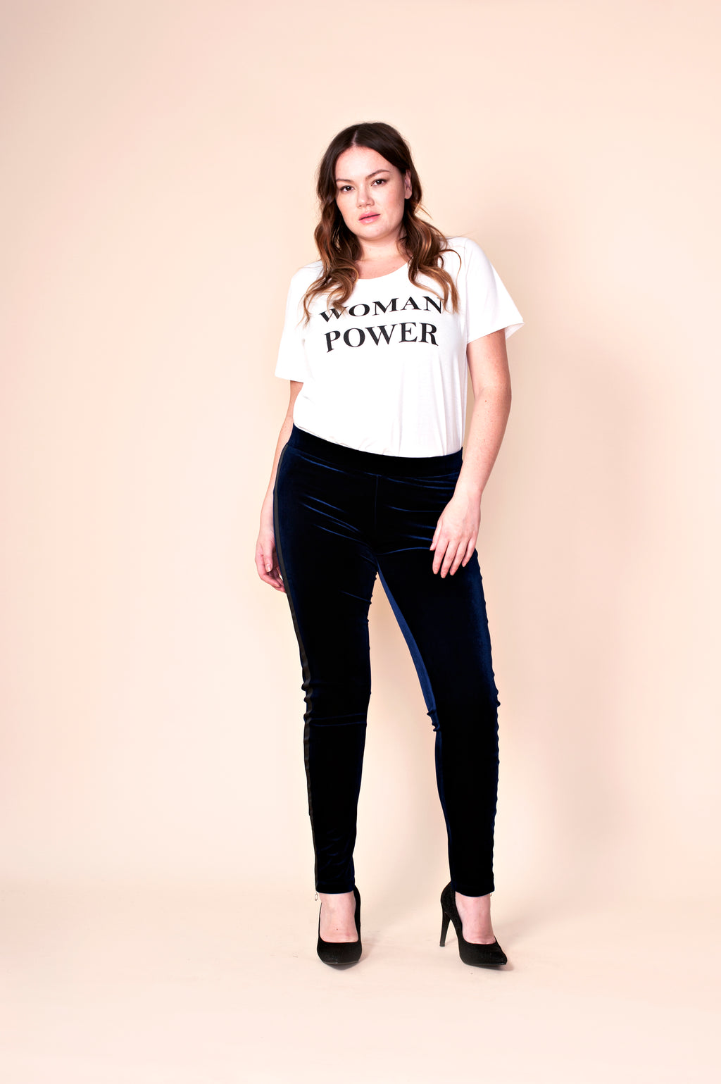 T-shirt « Woman power » blanc