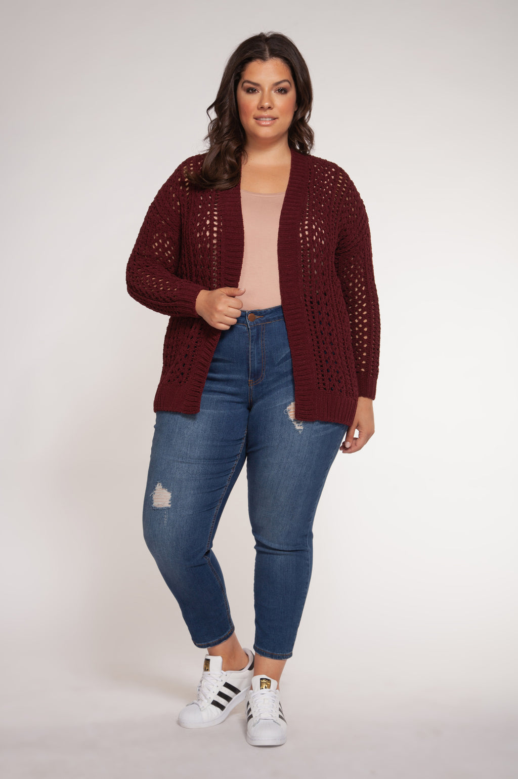 Cardigan bordeaux en crochet