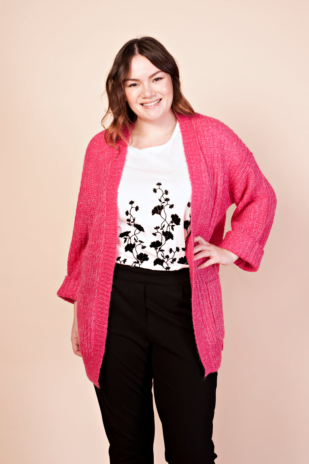 Cardigan long fuchsia