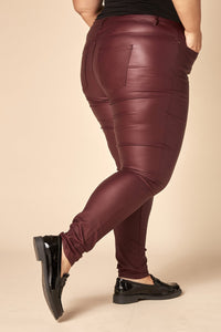Pantalon jean slim bordeaux enduit