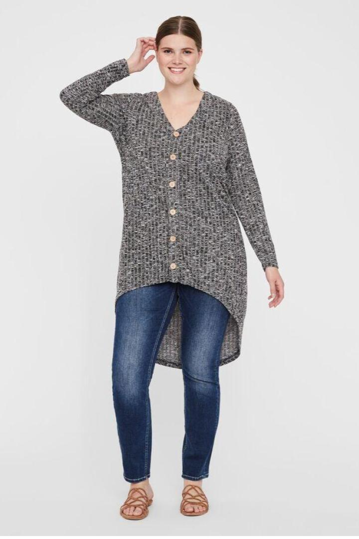 Cardigan long boutonné gris chiné