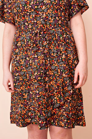 Robe orange imprimé floral