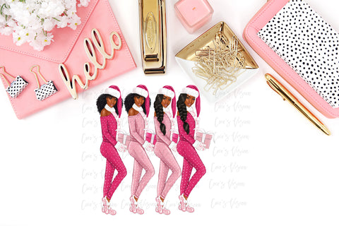 Pink Christmas Girls Stickers