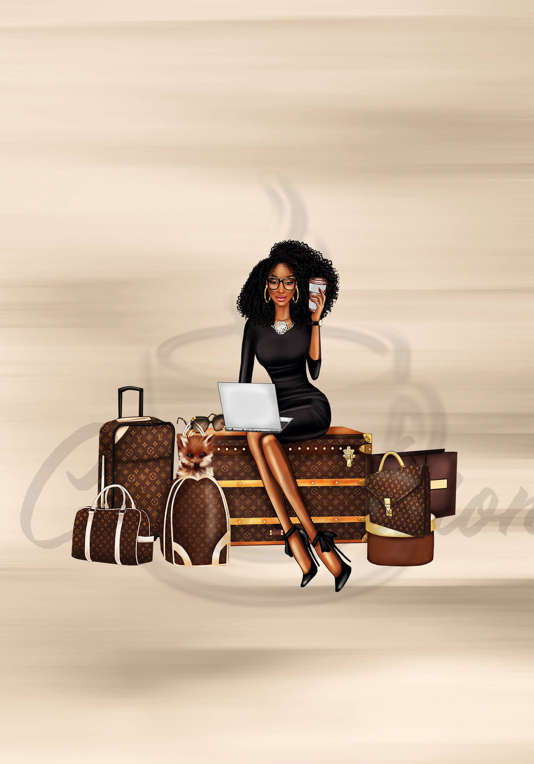 Louie Travel A5 Size Brown Girl
