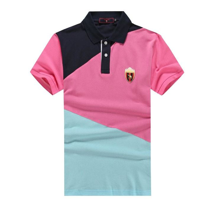 18944c1d5c9 ... 2018 New Fashion Polo Shirt Men Casual Brand Mens Summer 100% Cotton  Short Sleeve Patchwork ...