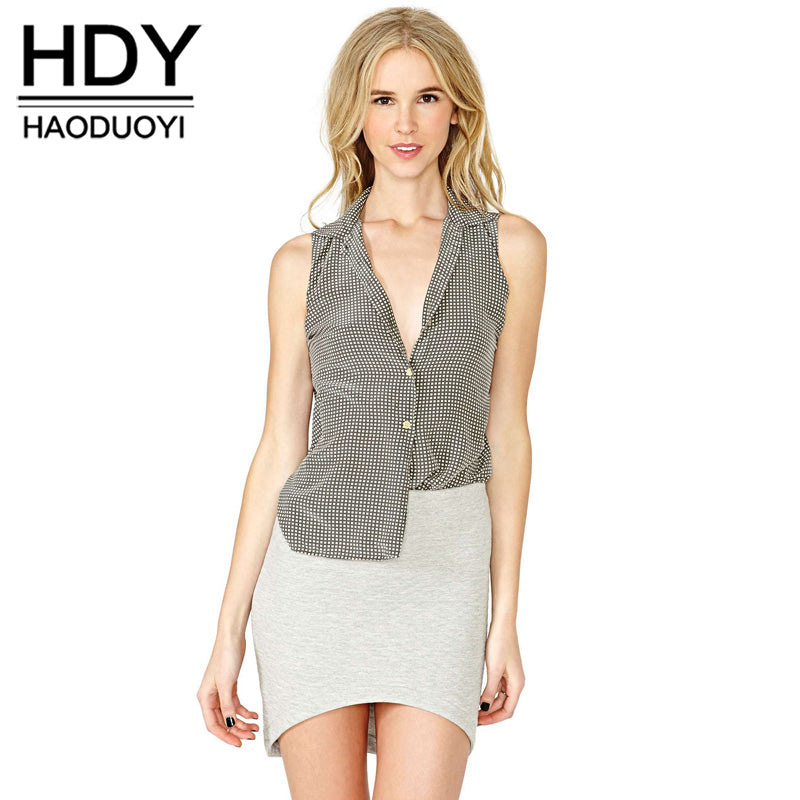426d343ad85a HDY Haoduoyi Fashion Brown Shirts Women Sleeveless Turn-down Collar Cold  Shoulder Tops Women Split