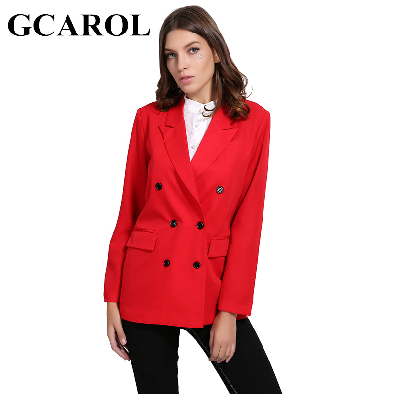 950bb313168e GCAROL New Arrival Spring Autumn Women Blazer Double-Breasted Button  Notched Collar OL Work Office