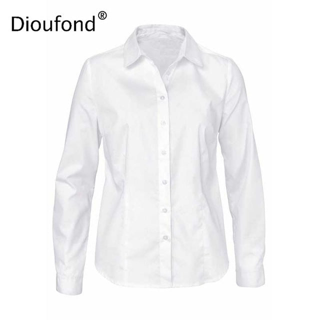 1bfcbec5356 ... Dioufond Solid Office Ladies Shirts Women s Blouse With Long Sleeves  Formal White Blusas Femininas Cotton Turn ...