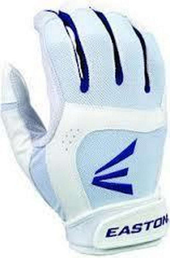 1 Pair Easton Stealth Core Large White / Royal Fastpitch Womens Batting Gloves