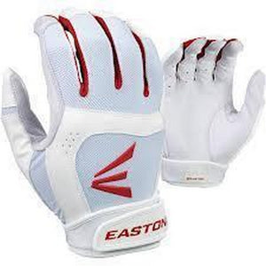 1 Pair Easton Stealth Core X-Large White / Red Fastpitch Womens Batting Gloves