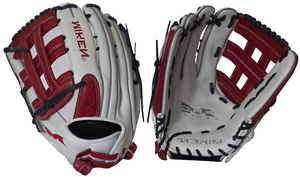"LHT Lefty Miken PRO130-WSN 13"" Pro Series Slowpitch Softball Glove White / Red / Navy"